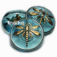 18mm Dragonfly Button Medium Sky Blue with a Gold Butterfly