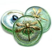 18mm Dragonfly Button Mantis with AB Finish and a Gold Dragonfly