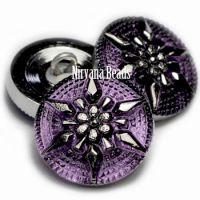 18mm Star Button Purple with a Silver Star