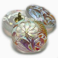 18mm Pincushion Flower Button Transparent Glass with AB Finish