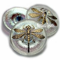 22mm Dragonfly Button Transparent Glass with AB Finish and a Gold Dragonfly