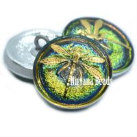 18mm Dragonfly Button Vitrail with a Gold Dragonfly