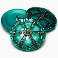 27mm Wheel Button Blue-green with Black and Gold Accents