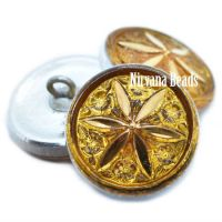 18mm Star Flower Button Yellow Gold with a Gold Star