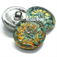18mm Pincushion Flower Button Volcano with a Tea Green Wash