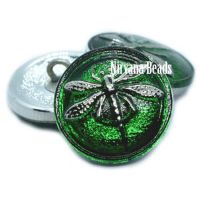 18mm Dragonfly Button Green with a Silver Dragonfly
