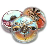 18mm Dragonfly Button Transparent Glass with An AB Finish and a Gold Dragonfly