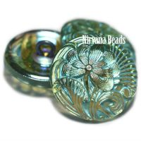 18mm Pincushion Flower Button Tea Green with a Turquoise Wash