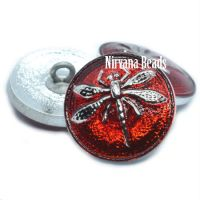 18mm Dragonfly Button Ruby Red with a Silver Dragonfly