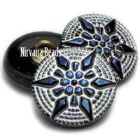 18mm Star Button Cobalt with a White Wash Finish