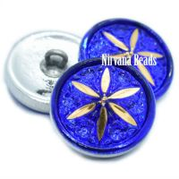 18mm Star Flower Button Sapphire and Gold