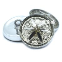 18mm Star Flower Button Grey and Silver