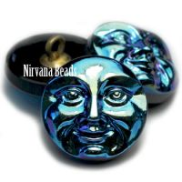 18mm Moon Face Button Black with AB Finish