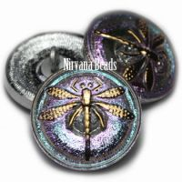 18mm Dragonfly Button Vitrail Light with a Gold Dragonfly