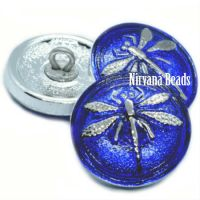 18mm Dragonfly Button Sapphire with a Silver Dragonfly