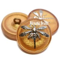 18mm Dragonfly Button Matte Gold with a Silver Dragonfly