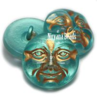 18mm Moon Face Button Blue-green with a Gold Wash