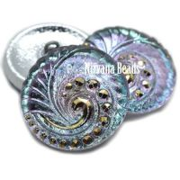 27mm Swirl Button Vitrail Light and Gold