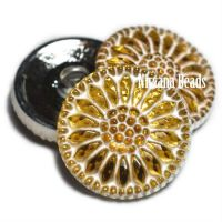 18mm Daisy Button Yellow with a White Wash