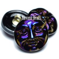 18mm Moon Face Button Black with a Sapphire and Purple Finish