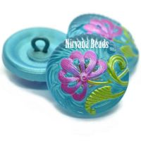 18mm Pincushion Flower Button Tiffany with Pink and Green Accents