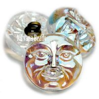 18mm Moon Face Button Transparent Glass with An AB Finish