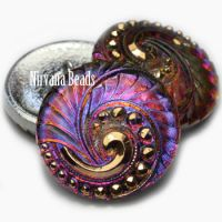 27mm Swirl Button Volcano with Gold Accents