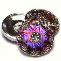 27mm Spiral Flower Button Volcano with Silver Accents