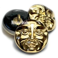 18mm Moon Face Button Metallic Gold