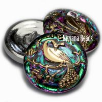 22mm Peacock Button Vitrail with a Gold Peacock