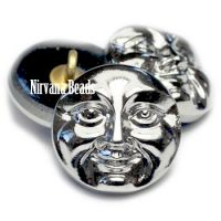 18mm Moon Face Button Metallic Silver