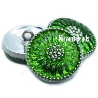 18mm Daisy Button Kelly Green and Silver
