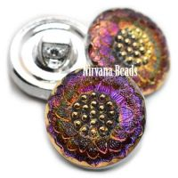 18mm Daisy Button Volcano with Gold Accents