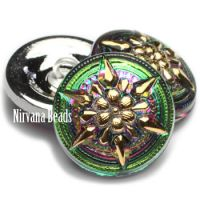 18mm Star Button Vitrail with a Gold Star
