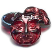 18mm Moon Face Button Ruby Red with a Copper Finish