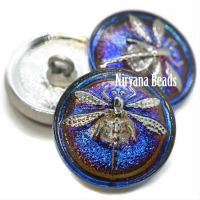 18mm Dragonfly Button Volcano with a Silver Dragonfly