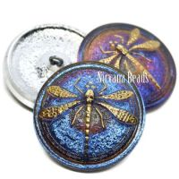 31mm Dragonfly Button Volcano with a Gold Dragonfly