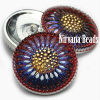 27mm Daisy Flower Button Blue with Red and Gold Accents