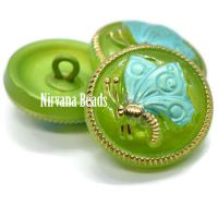 18mm Butterfly Button Green Apple with Tiffany Green and Gold Accents