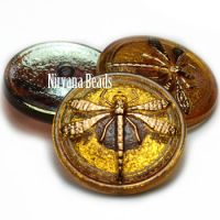 30mm Dragonfly Button Dandelion with An AB Finish and a Gold Dragonfly