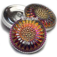 27mm Daisy Flower Button Volcano with Gold Accents