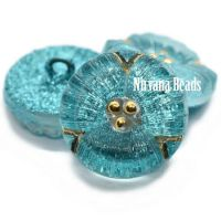 18mm Flower Button Transparent Glass with Medium Sky Blue Glitter and Gold Accents