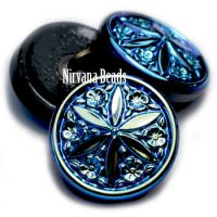 18mm Star Flower Button Black with An AB Finish