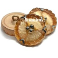 18mm Flower Button Camel with Silver Accents