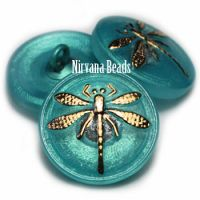 18mm Dragonfly Button Tiffany with a Gold Dragonfly