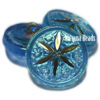 18mm Star Flower Button Pacific Blue with An AB Finish and a Gold Star