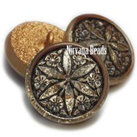 18mm Star Flower Button Gold with a Black Wash