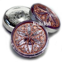 18mm Star Flower Button Grape with a Copper Wash