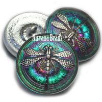 22mm Dragonfly Button Vitrail with a Silver Dragonfly