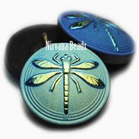 18mm Dragonfly Button Black with a Matte and AB Finish